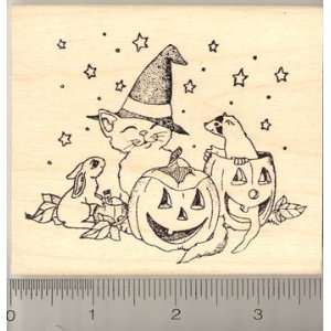 Trick or Treating Friends Rubber Stamp   Wood Mounted