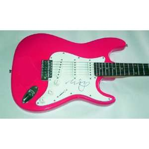 Miley Cyrus Autographed Signed Pink Guitar & Exact Video