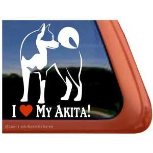 I Love My Akita Dog Vinyl Window Decal Sticker Automotive