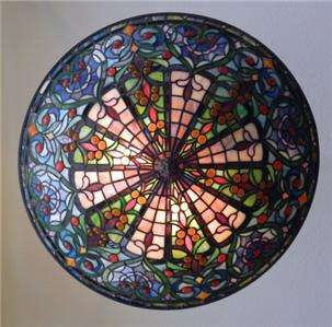 26 FRENCH STAINED GLASS TIFFANY ESQUE CANDELIER LIGHT ART FOYER