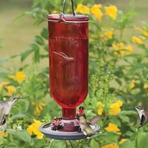 Red Bottle Hummingbird Feeder Patio, Lawn & Garden