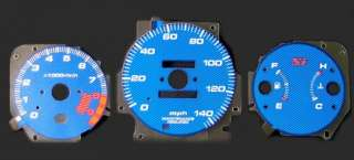 99 00 CIVIC Si BLUE CARBON FIBER GLOW GAUGES MPH JDM 9K
