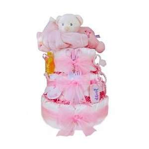 Sleepy Bear 3 Tier Diaper Cake   Girl Baby