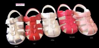 NEW Girls Leather Sandals/Shoes Silver Pink Red Sz1 6