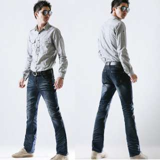 R178B Mens Slim Fit Boot Cut Jeans Denims 28~32 Pants Korea vintage