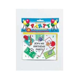 144 Packs of birthday party invitation sports themed (8