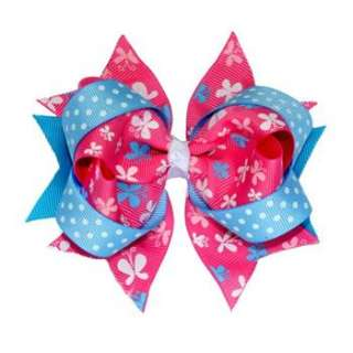 Pink and Blue Butterfly Boutique Spike Girl/Baby Hair Bows 12pcs