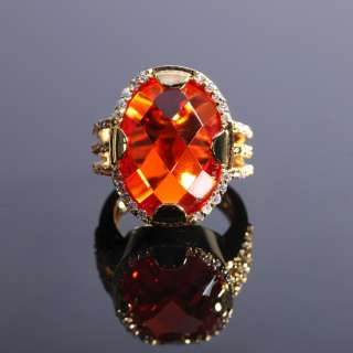 ON SALE Fashion Jewelry Red Orange Oval Cut Topaz Yellow Gold GP Ring