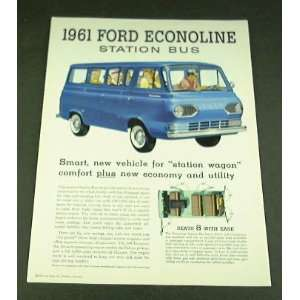 1961 61 Ford ECONOLINE STATION BUS VAN BROCHURE