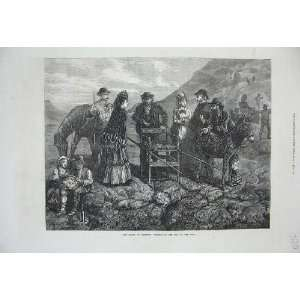 1872 Ascent Vesuvius Tourists Cone Mountain Volcano