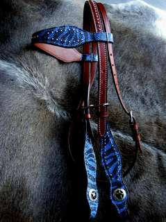 BRIDLE WESTERN LEATHER HEADSTALL BLUE ZEBRA TACK