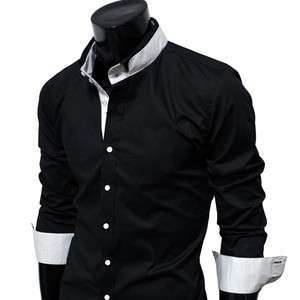 Mens Casual Design slim fit strechy Dress Shirts
