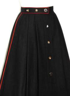 BLACK WOOL Women LONG PLEATED A Line Swing SKIRT 40 8 S