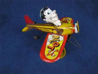 Vintage Marx Tin Litho Rookie Pilot Wind Up Toy Plane