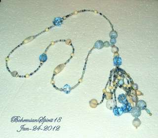 Antique Art Deco BLUE CZECH ART GLASS BEADED Strand TASSEL FLAPPER