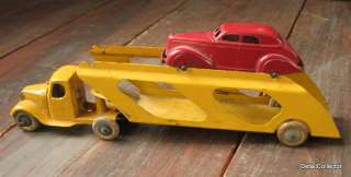 TOOTSIETOY Pre War AUTO TRANSPORT Mack Truck & Car White Wheels AS IS