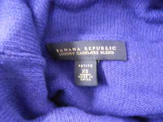 Luxury Cashmere Blend Womens Blue Turtle Neck Sweater Dress XS