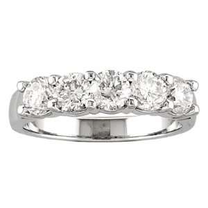 14k Gold 5 Stone Wedding Band with 0.90ct of Diamonds   5