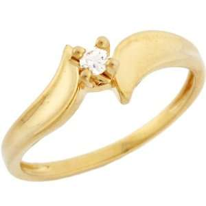 10k Solid Yellow Gold Diamond Solitaire Promise Ring Jewelry