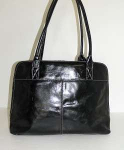 NEW GIANI BERNINI BLACK GLAZED LEATHER LARGE WORK LEATHER TOTE BAG