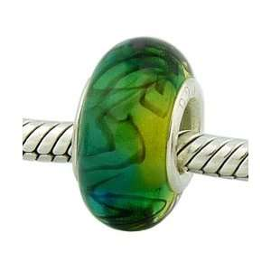 Slush Puppy Green Bead .925 Silver Murano Glass Charm for
