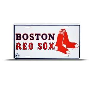 Red Sox Socks Mlb Metal Sport License Plate Wall Sign Tag Automotive
