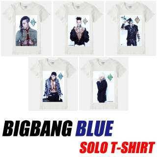 Blue Solo T shirt, K pop BIGBANG G dragon Taeyang TOP Daesung Seungri