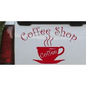 Coffee Shop Cup Business Car Window Wall Laptop Decal Sticker    Red