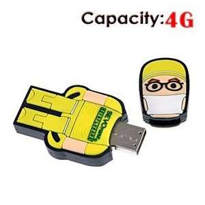 4G USB Flash Drive with Rubber Robot Doctor Shape (Yellow