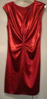 New Connected Apparel Womens Retro Crush Satin Dress /Color Red /Size