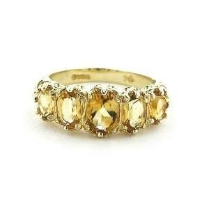 Gold Ladies Citrine Ring   Finger Sizes 5 to 12 Available Jewelry