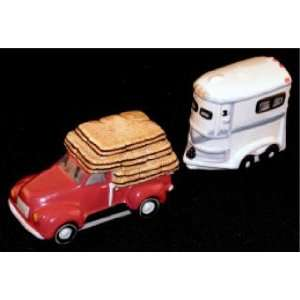 HORSE TRAILER and Red Ford Truck SALT AND PEPPER SHAKERS