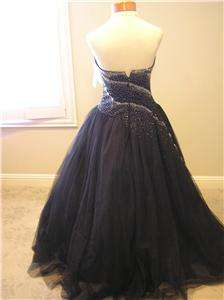 NWT Tiffany quinceanera prom pageant formal black tulle ball gown