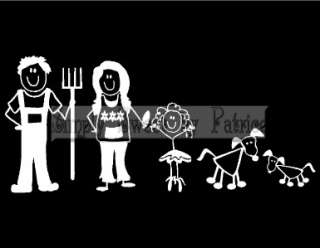 CUSTOM 6 STICK FIGURE PEOPLE FAMILY Vinyl Car Auto Window Decal Sign