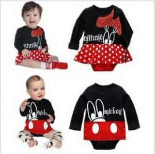Girl Boy Baby Clothes Minnie Mickey Mouse Set Cotton