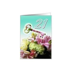 21st Birthday Invitation   Key and Flower Bouquet Card Toys & Games