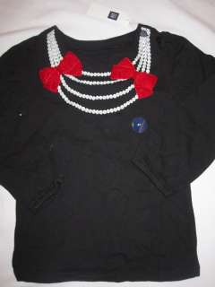 NWT Girls Baby Gap Black & Red Velvet Bow L/S Top Sz 3T