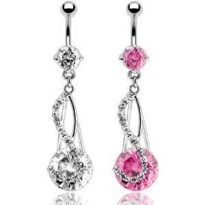 Multi Pave Gems/8mm & 14mm Large Pink Cubic Zirconia Dangle Belly Ring