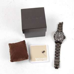 Michael Kors Mens Black Gun Metal MK 7057 Wristwatch Watch + Box