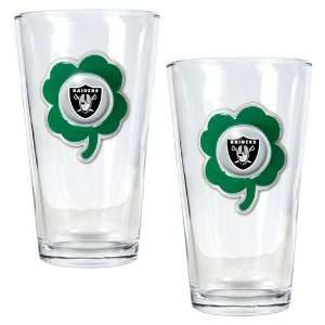 NFL Oakland Raiders St. Patricks Day 2pc Pint Glass Set