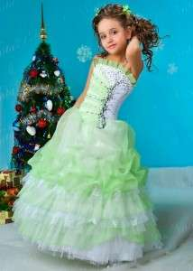 FLOWER GIRL PAGEANT PARTY HOLIDAY DRESS 4382 BEIGE LIGHT GREEN SIZE 6