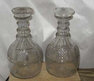 Pair Antique English or Irish Cut Glass Decanters