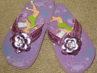 Disney Tinker Bell Sparkle flip flops shoes girl NEW 7