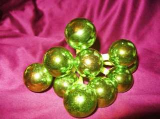 VTG MERCURY GLASS Lime Green Bead Xmas Tree Ornament 1950s Japan