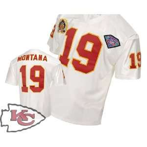 City Chiefs #19 Joe Montana Throwback White Jersey Authentic Football