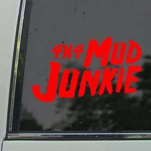 4x4 Mud Junkie Red Decal Car Truck Bumper Window Red
