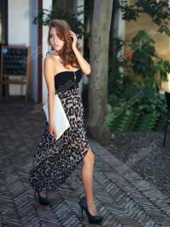 Women Sexy Chiffon Bustier Party Maxi Dress Leopard Pattern One Size