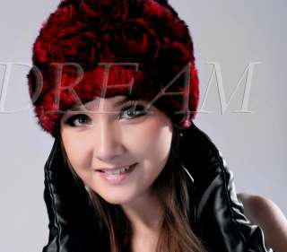 Genuine Real Rex Rabbit Fur Rose Hat Red/Silver/Brown