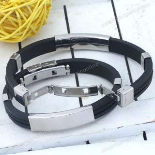 Mens Silver Stainless Steel Black Rubber Bracelet 8L Cuff Wristband