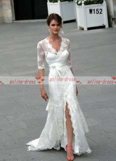 Half Sleeve Former Open Fork White/Ivory Lace Bridal Wedding Dress
